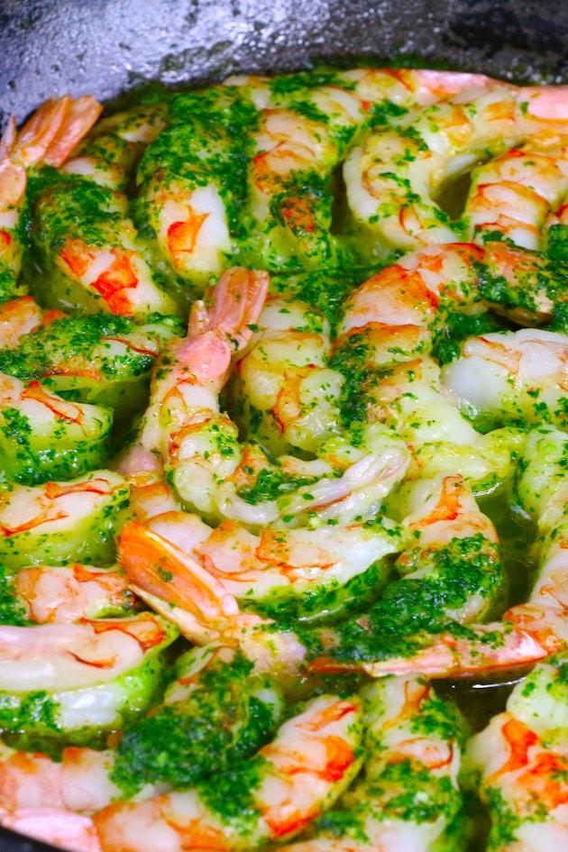 Pan fried shrimp in a skillet