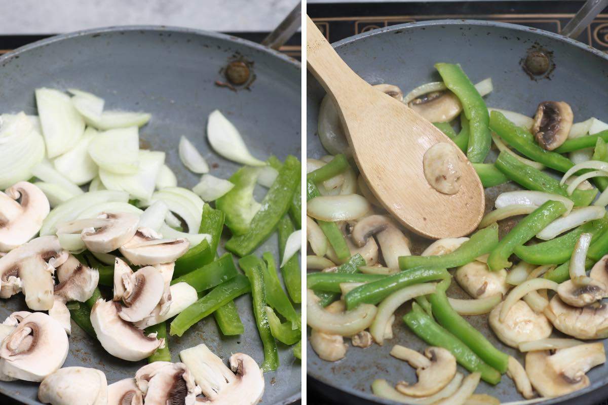 Sautéeing vegetables in a skillet until softened