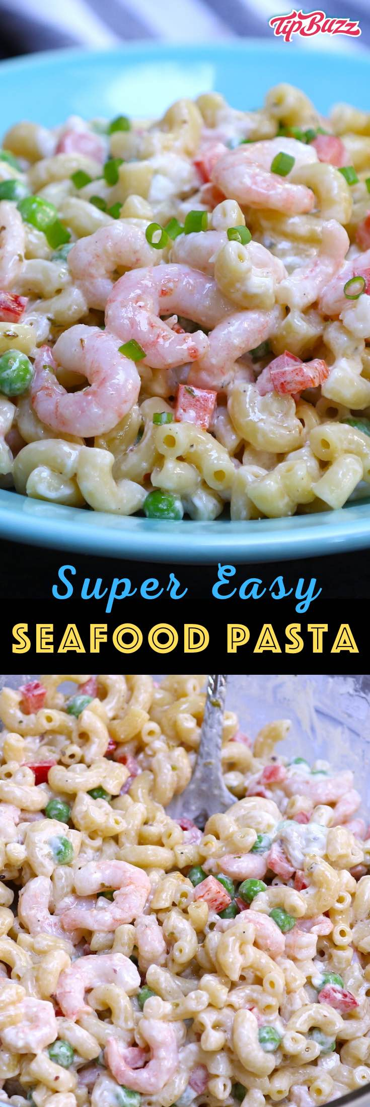 Seafood Pasta Salad is a delicious summery side dish with your favorite seafood, pasta, vegetables and Italian dressing. You can use shrimp, imitation crab, lump crab, lobster, or a combination! Perfect for a party, picnic, potluck or barbecue! #seafoodpastasalad #shrimppastasalad