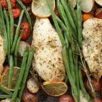One Pan Baked Chicken With Potatoes, Green Beans and Cherry Tomatoes - Tender and juicy chicken breasts baked with vegetables in a sheet pan. A quick and healthy dinner that's super easy to make. It takes only about 30 minutes. Quick and Easy Dinner, healthy, Sheet Pan recipe. Video recipe. | Tipbuzz.com