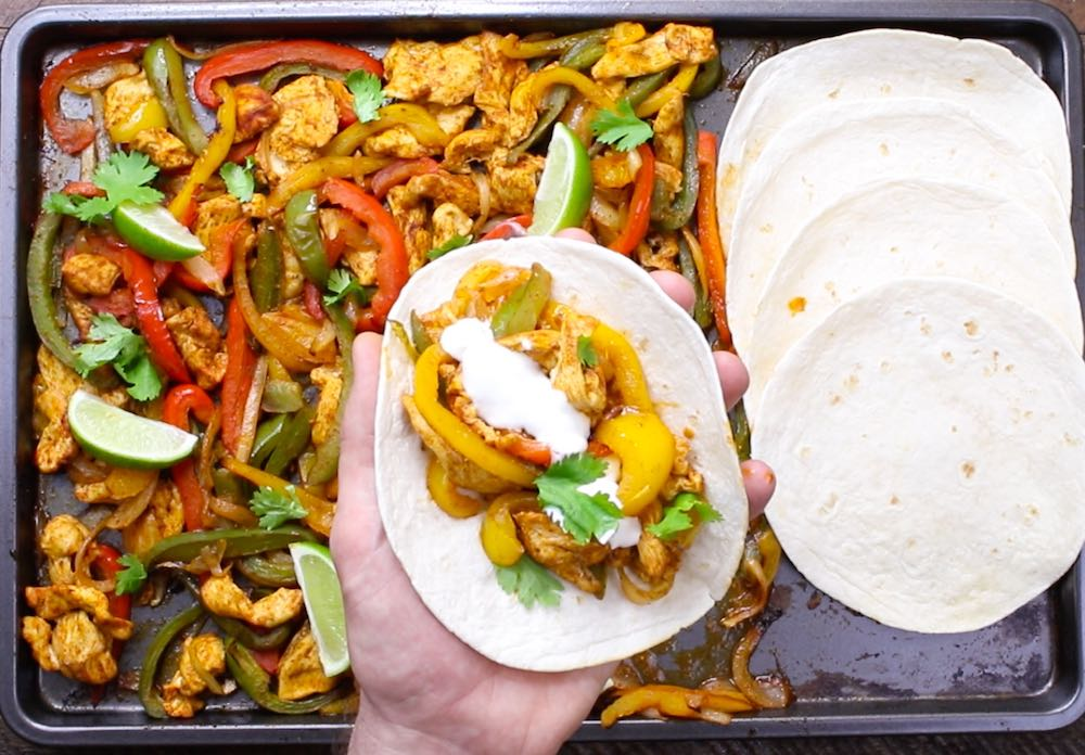 Assembling fajitas off a sheet pan