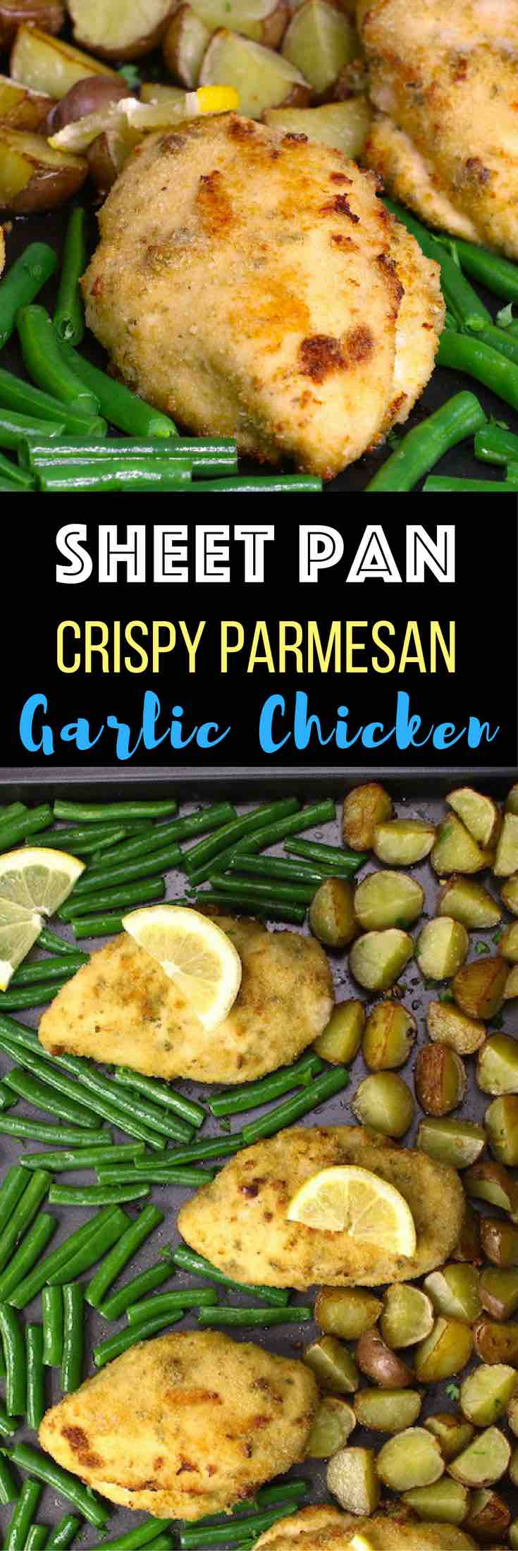 Sheet Pan Crispy Parmesan Garlic Chicken with Veggies and Lemon: Tender, juicy chicken breasts baked to perfection with potatoes, lemon and green beans. All baked on a single pan with less than 30 minutes! So easy. Quick dinner is served with just a few simple ingredients. Chicken breasts are dipped in parsley, garlic and egg mix, then covered with bread crumb and Parmesan cheese. So good! Quick and easy dinner, healthy recipe. Video recipe.   tipbuzz.com
