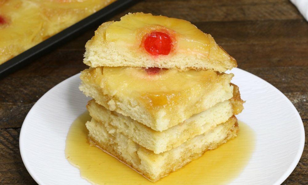 Sheet Pan Pineapple Upside Down Pancakes
