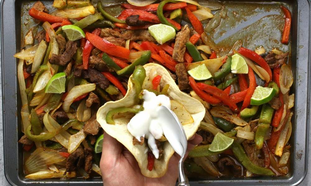 Easy Sheet Pan Steak Fajitas With Taco Bowls