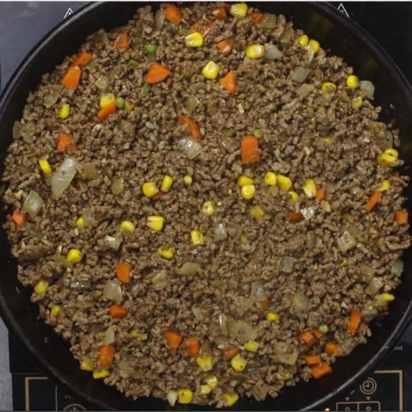 Skillet Shepherd's Pie - this is a photo of the cooked meat mixture for shepherd's pie, a combination of browned ground beef, onions, garlic, vegetables and seasonings
