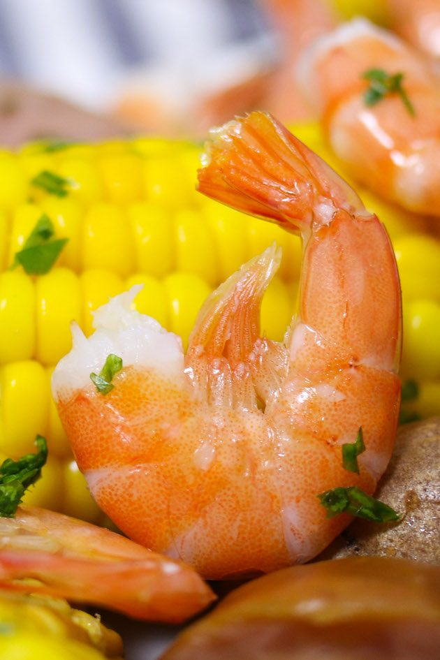 Boiled shrimp with potatoes and corn