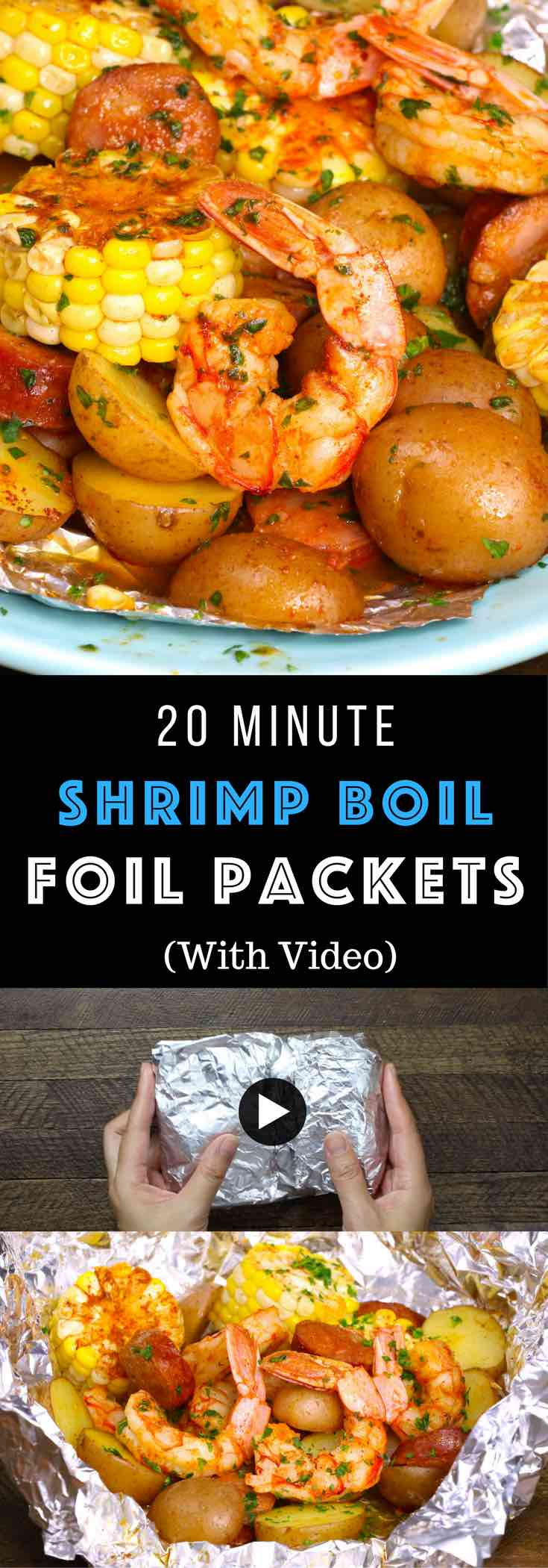 These Shrimp Foil Packets are bursting with delicious Cajun flavors! Made with shrimp, potatoes, corn and sausage and grilled or baked until tender and juicy. Perfect for a party, backyard BBQ or casual summer dinner. Cleanup is a breeze! Quick and Easy dinner recipe.