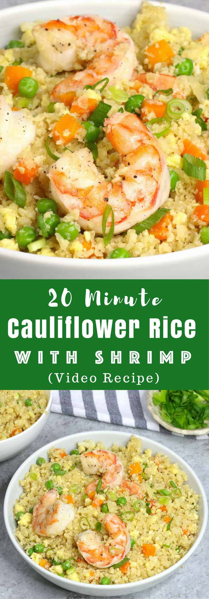 Shrimp Fried Cauliflower Rice - a delicious lunch or dinner idea that's low-carb, gluten-free, healthy and ready in 20 minutes. All you need are some simple ingredients: cauliflower, carrots, peas, shrimp, soy sauce, sesame oil and green onion. So good! #lowcarb #glutenfree Video recipe. tipbuzz.com