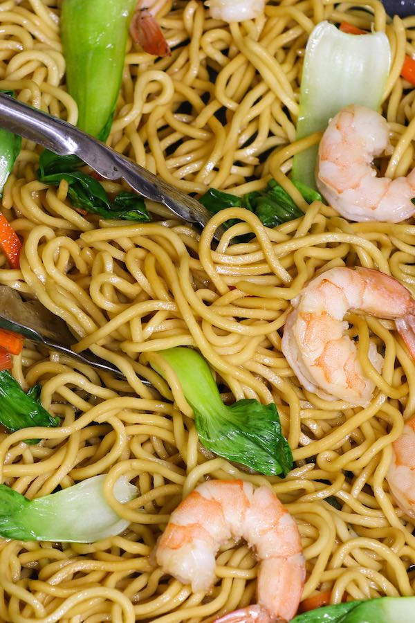 Shrimp Chow Mein with Bok Choy and Carrots in the pan