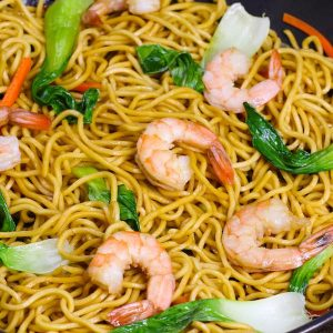 This Shrimp Chow Mein is a quick and easy one pot meal, loaded with sizzling shrimp, flavorful vegetables and fried noodles. It's so delicious and you will find yourself making it again and again as a quick weeknight dinner!