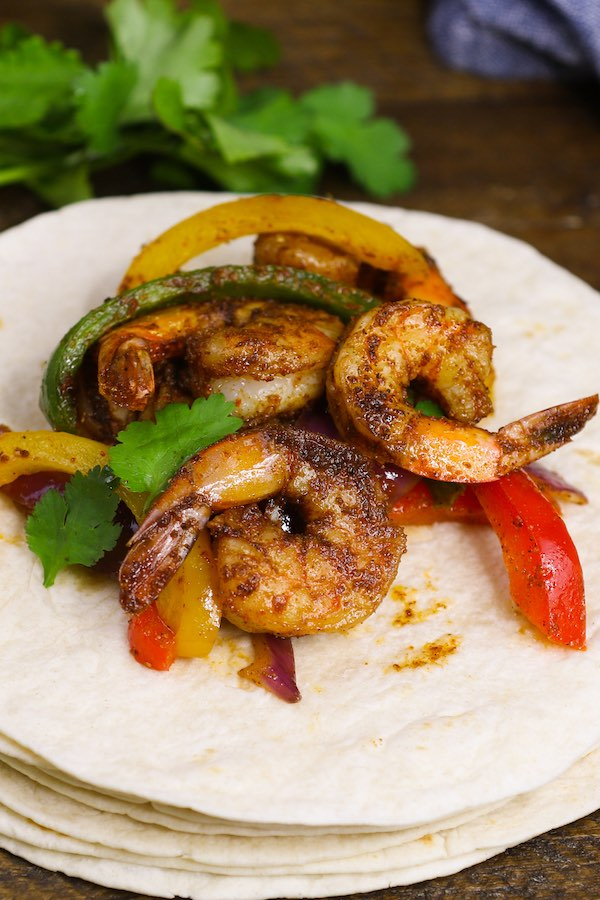 Shrimp Fajitas served on tortillas