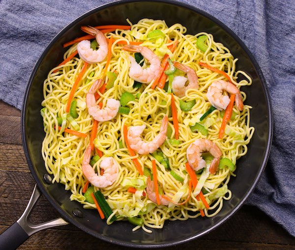 Shrimp Lo Mein in the Pan