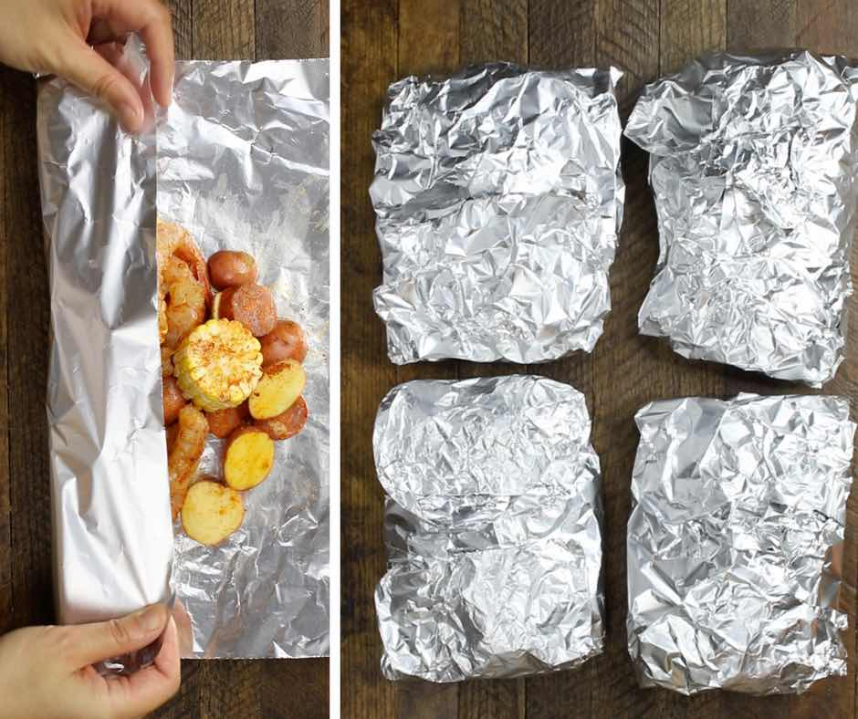 This graphic shows how to seal up a shrimp boil foil packet before cooking