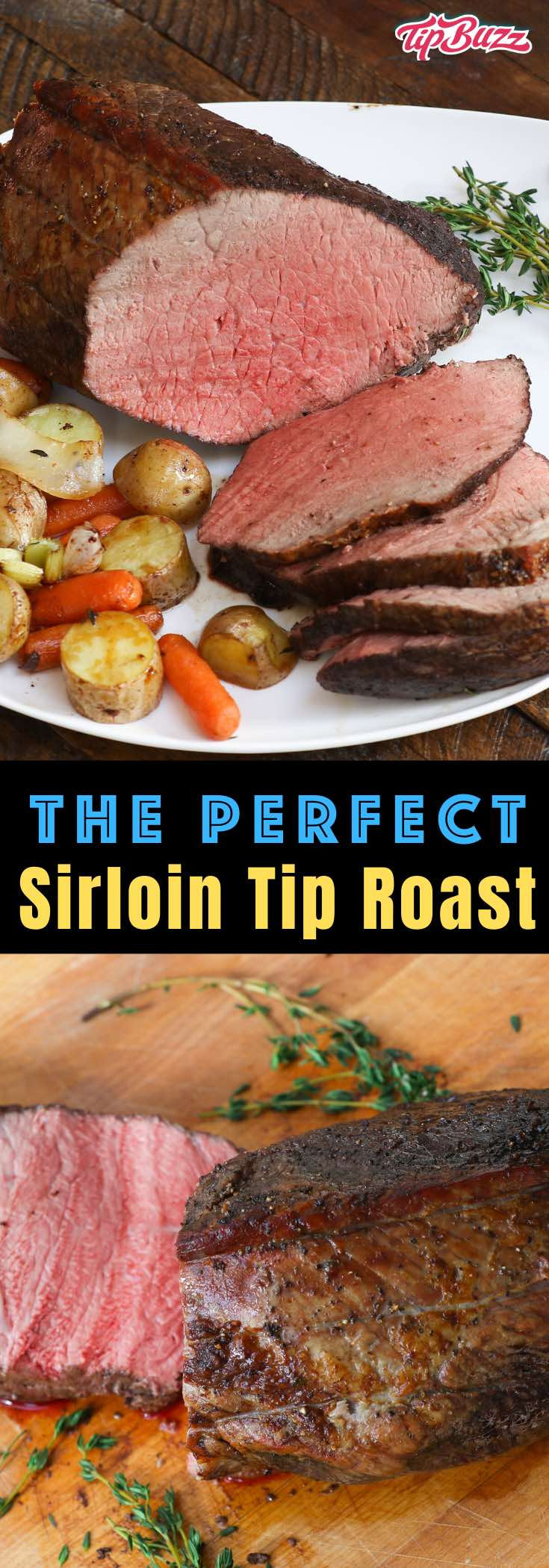 This Sirloin Tip roast is easy to make for a flavorful dinner that's budget-friendly and easy to make. Use the leftovers for sandwiches, soups and salads! #sirlointip #sirloinroast