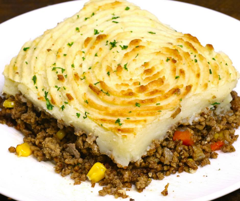 Skillet Shepherd's Pie - this photo shows a square piece of shepherd's pie or cottage pie served on a plate