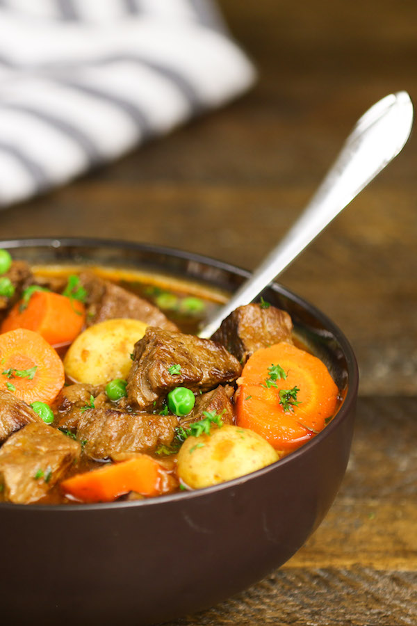 Side angle view of a serving of beef stew in a bowl