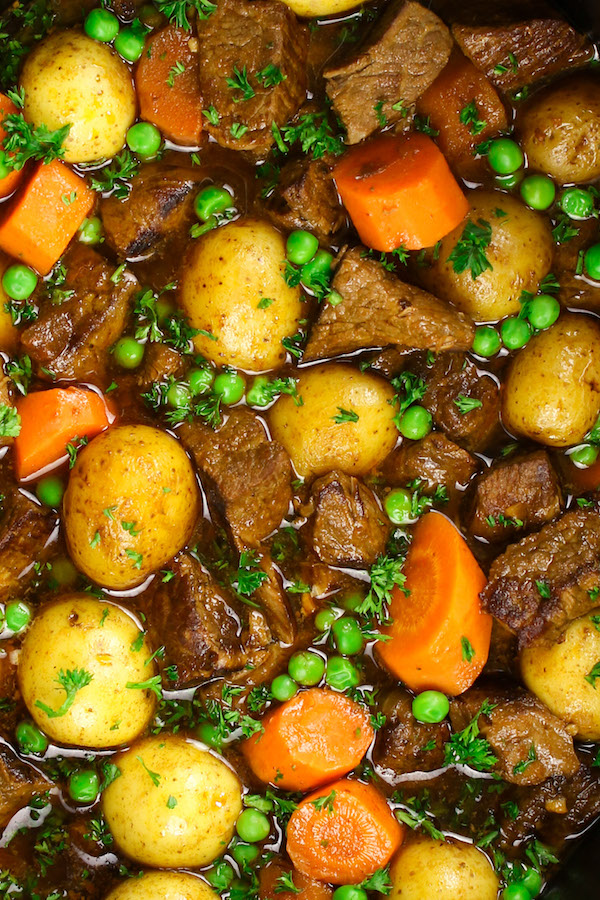 Closeup showing the texture of slow cooker beef stew