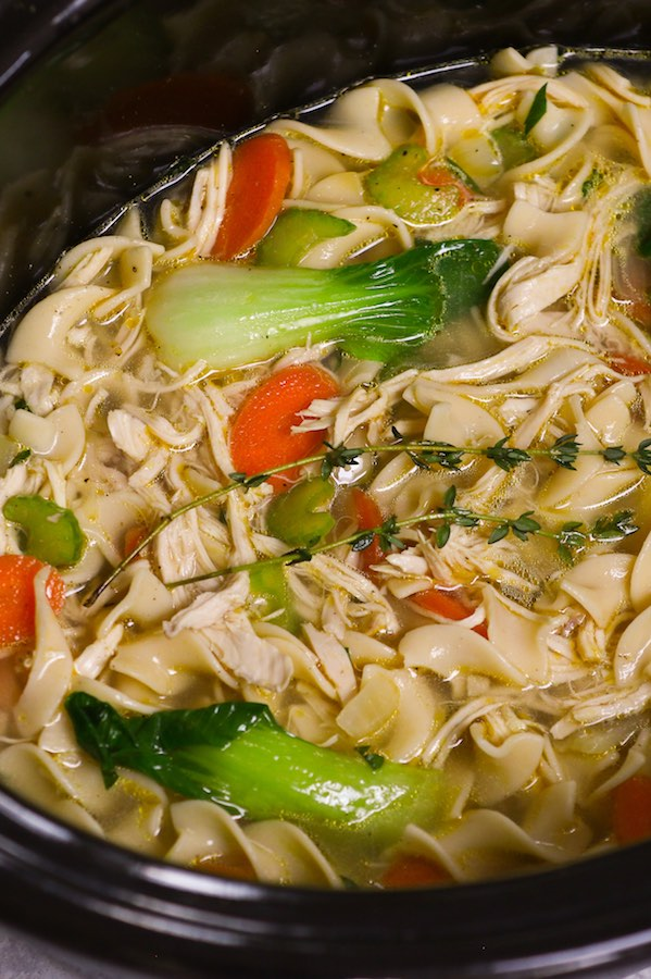 Slow Cooker Chicken Noodle Soup in the crock pot