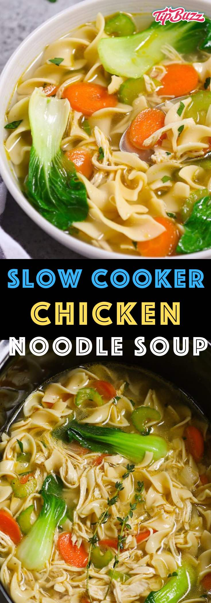 This Slow Cooker Chicken Noodle Soup is the easiest and most unbelievably delicious soup you'll ever make! It's a comforting and nourishing meal with only 10 minutes of prep and the crock pot does the rest. #ChickenNoodleSoup #CrockpotChickenNoodleSoup #SlowcookerChickenNoodleSoup