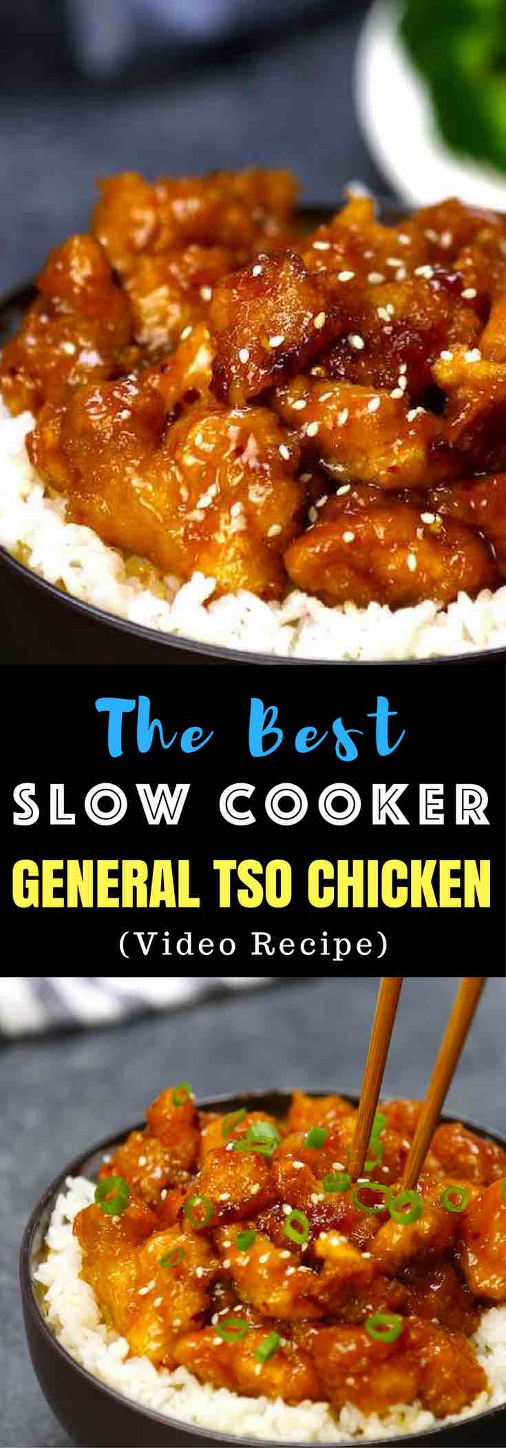 Here's a restaurant-quality recipe for the perfect easy weeknight dish! This Slow Cooker General Tso's Chicken is super easy to make, is tender, sweet and sticky. All you need is just a few simple ingredients: chicken breast, corn starch, garlic, hoisin sauce, soy sauce, rice vinegar and honey. So delicious! Easy dinner recipe. Crock Pot Dinner. Video recipe. | Tipbuzz.com
