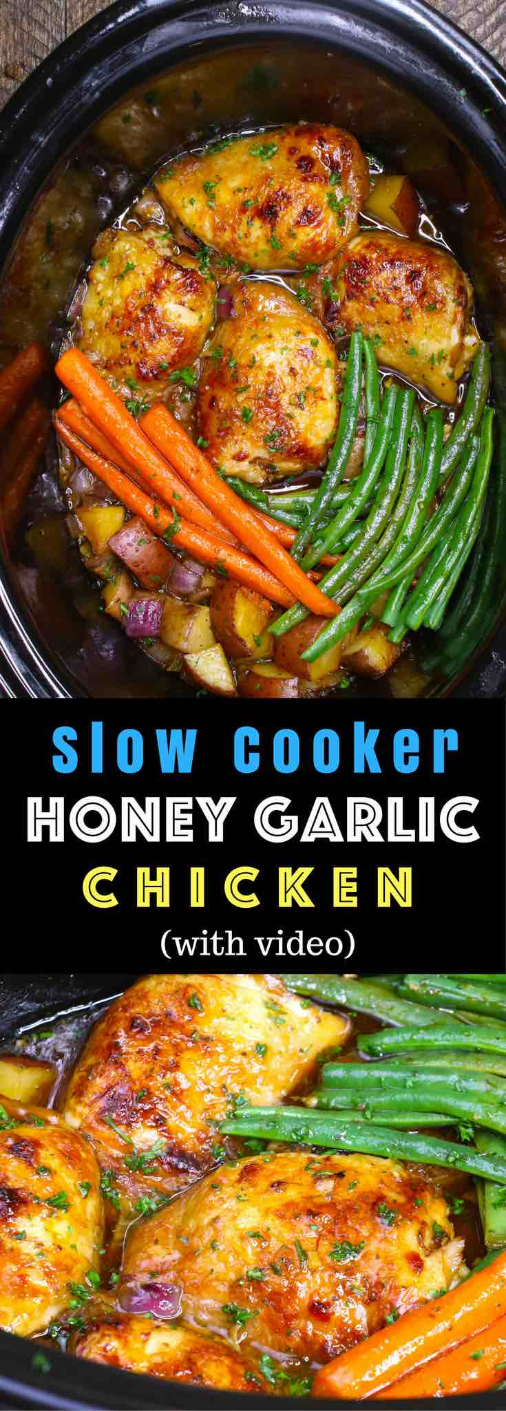 The easiest, most unbelievably delicious Slow Cooker Honey Garlic Chicken With Veggies. It's one of my favorite crock pot recipes. Succulent chicken cooked in honey, garlic, soy sauce and mixed vegetables. Preparation is an easy 15 minutes. Easy one pot recipe. #slowcooker #crockpot #SlowCookerChicken #HoneyGarlicChicken