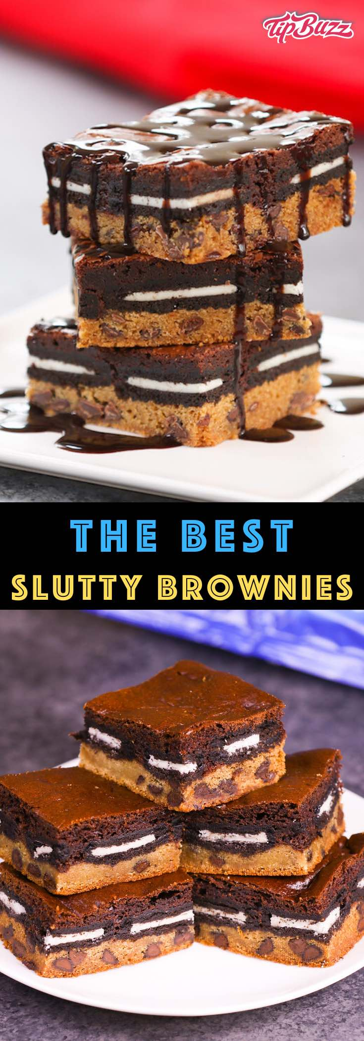These Slutty Brownies melt in your mouth with rich layers of cookie dough, Oreo cookies and brownies. This slutty brownie recipe is easy to make whenever you want an extra-decadent treat! #SluttyBrownies