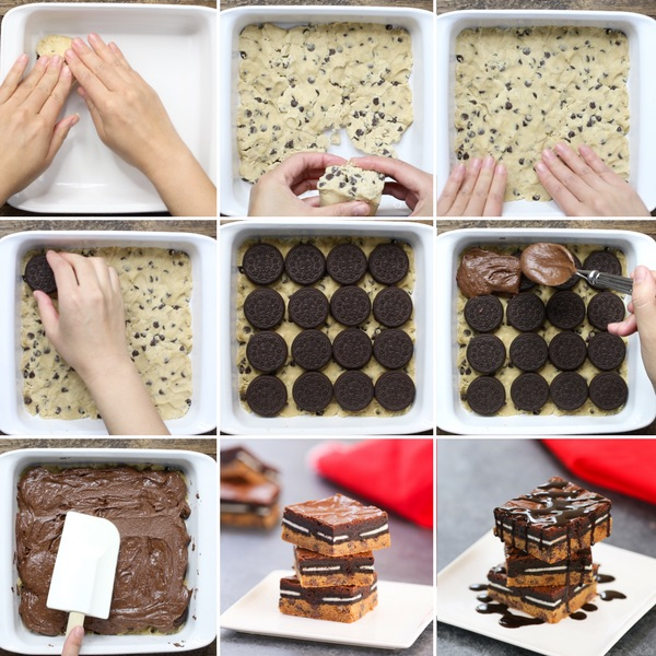 Slutty Browies - this graphic shows the key process steps in how to make slutty brownies