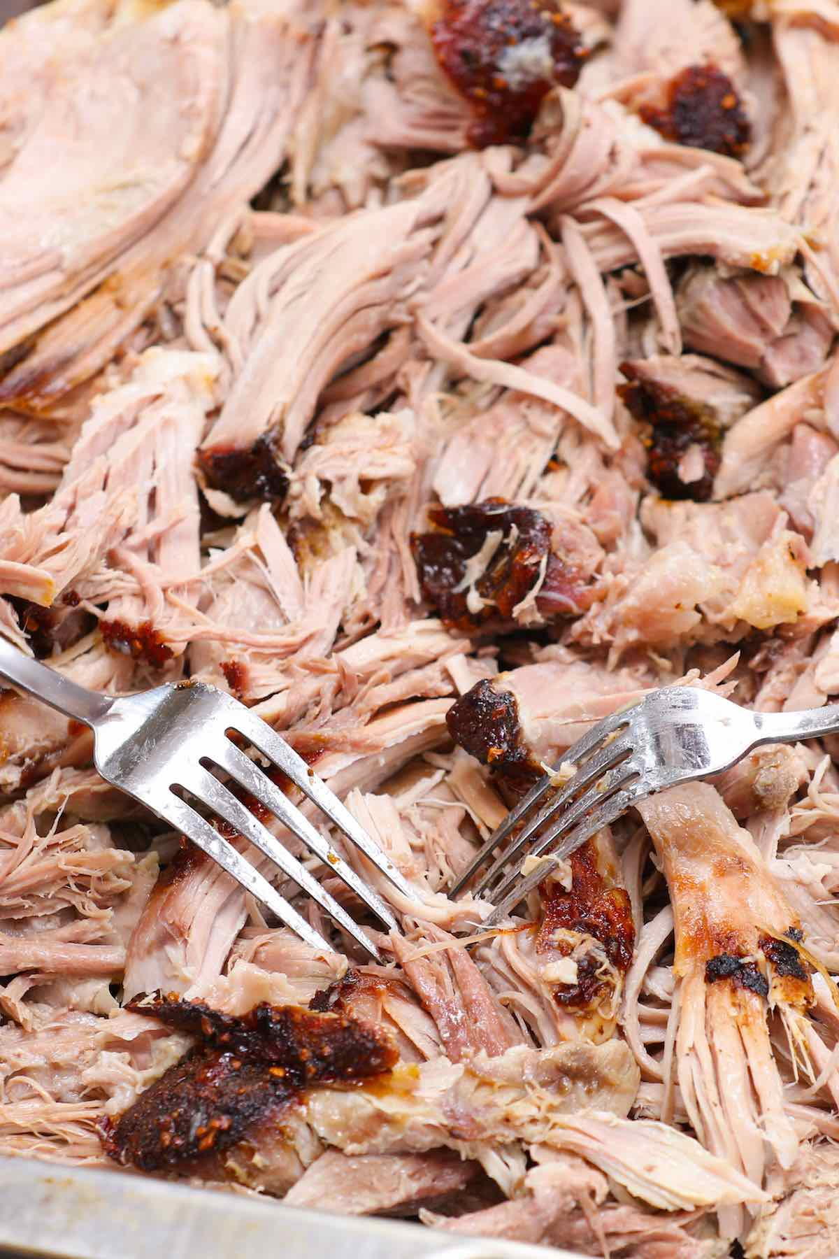 Closeup of freshly made pulled pork