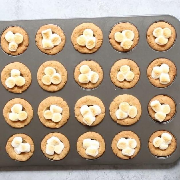 A mini muffin pan full of cookies with toasted mini marshmallows on top