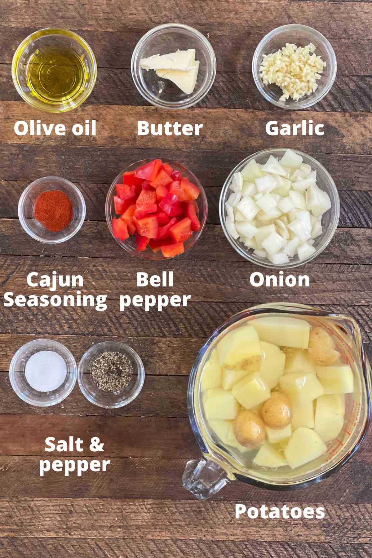Ingredients for smothered potatoes