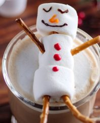 These adorable Snowman Mocha Lattes are a festive hot beverage to serve guests during the holiday season