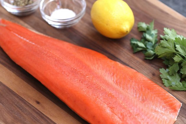 A fillet of raw sockeye salmon that's lean and healthy with a nice orange-red color