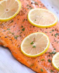 A fillet of baked sockeye salmon