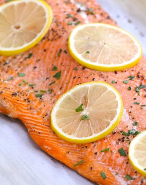 A fillet of baked sockeye salmon