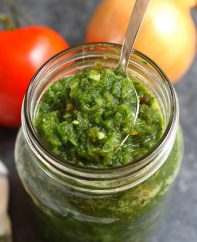 Sofrito is an aromatic sauce that's mild and sweet with a little kick. It's a popular condiment for many Puerto Rican dishes and other Spanish recipes. Plus, it's so easy to make and ready in 15 minutes!