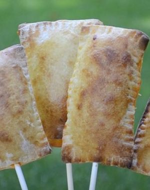 Pasta pockets served on sticks for a State Fair inspired snack