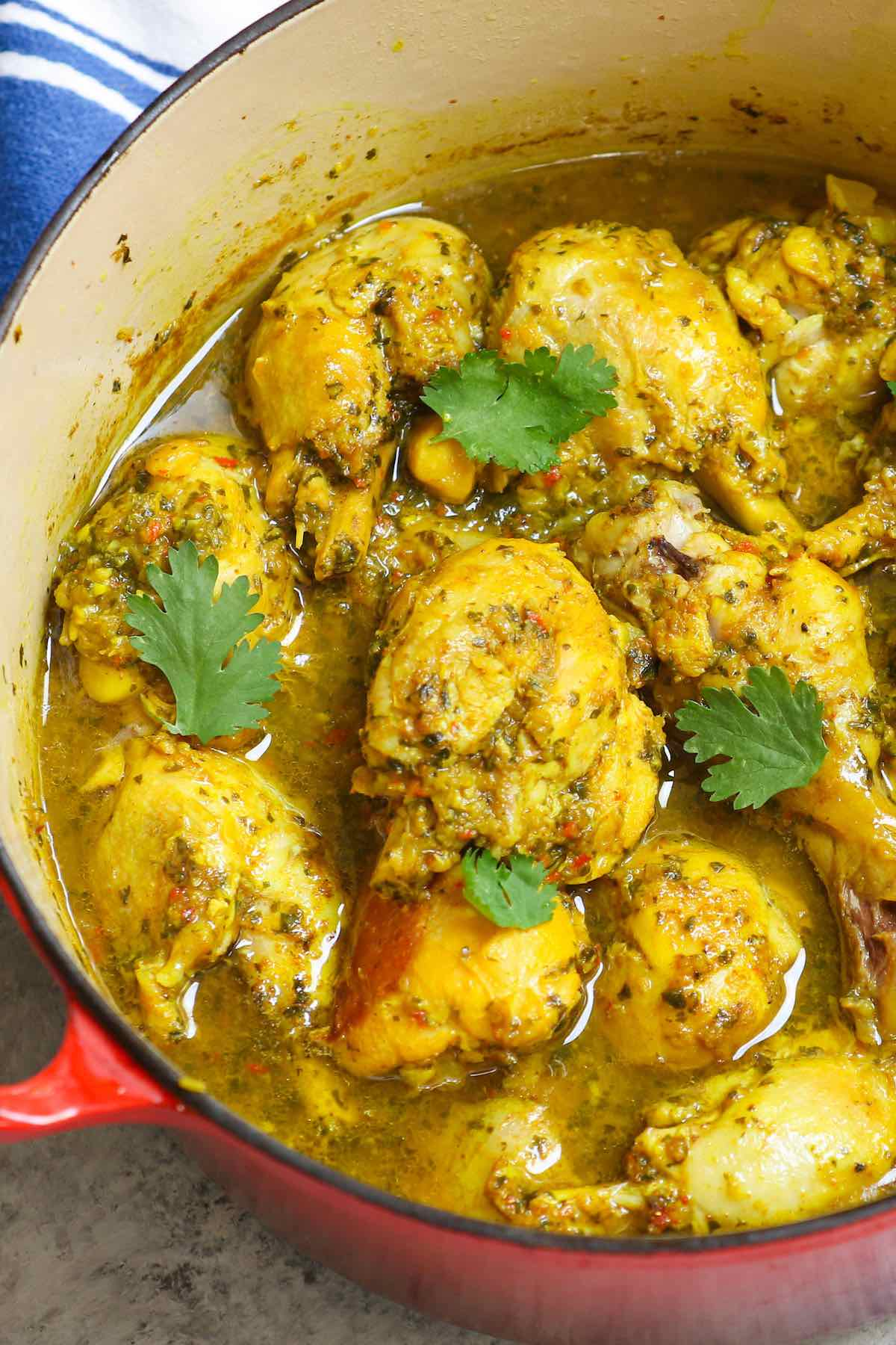 Trinidad curry chicken in a pot after cooking