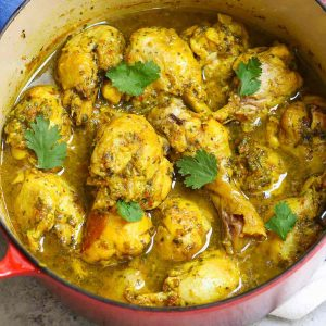 A pot of homemade Trini Curry Chicken