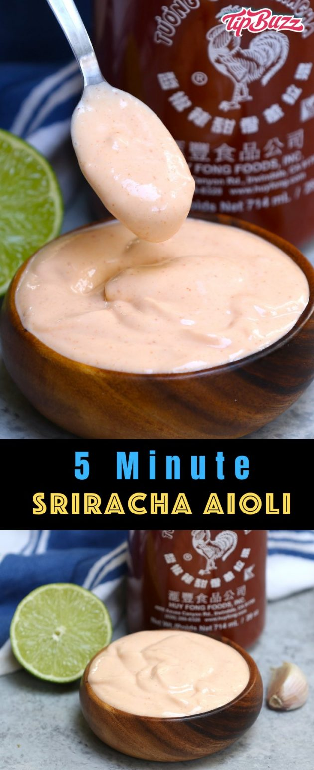 This Spicy Sriracha Aioli is a tasty condiment you can serve as a dipping sauce with fish tacos, crab cakes or French fries. It also makes a delicious spread on black bean burgers and baked potatoes.