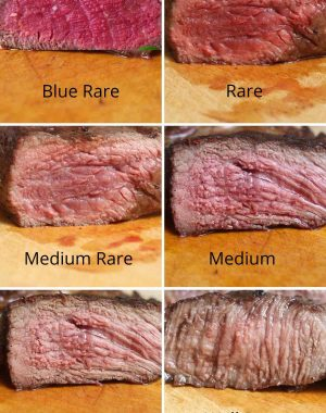 Cross sectional view of the main degrees of steak doneness including blue rare, rare, medium rare, medium, medium well and well done