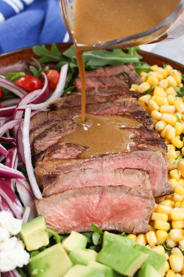 Balsamic Vinaigrette Dressing takes about 5 minutes to make with just a few simple ingredients: balsamic vinegar, Dijon mustard, garlic, olive oil, salt and pepper. This combination creates the most delicious steak dressing which is delicate and tangy with just a hint of sweetness.