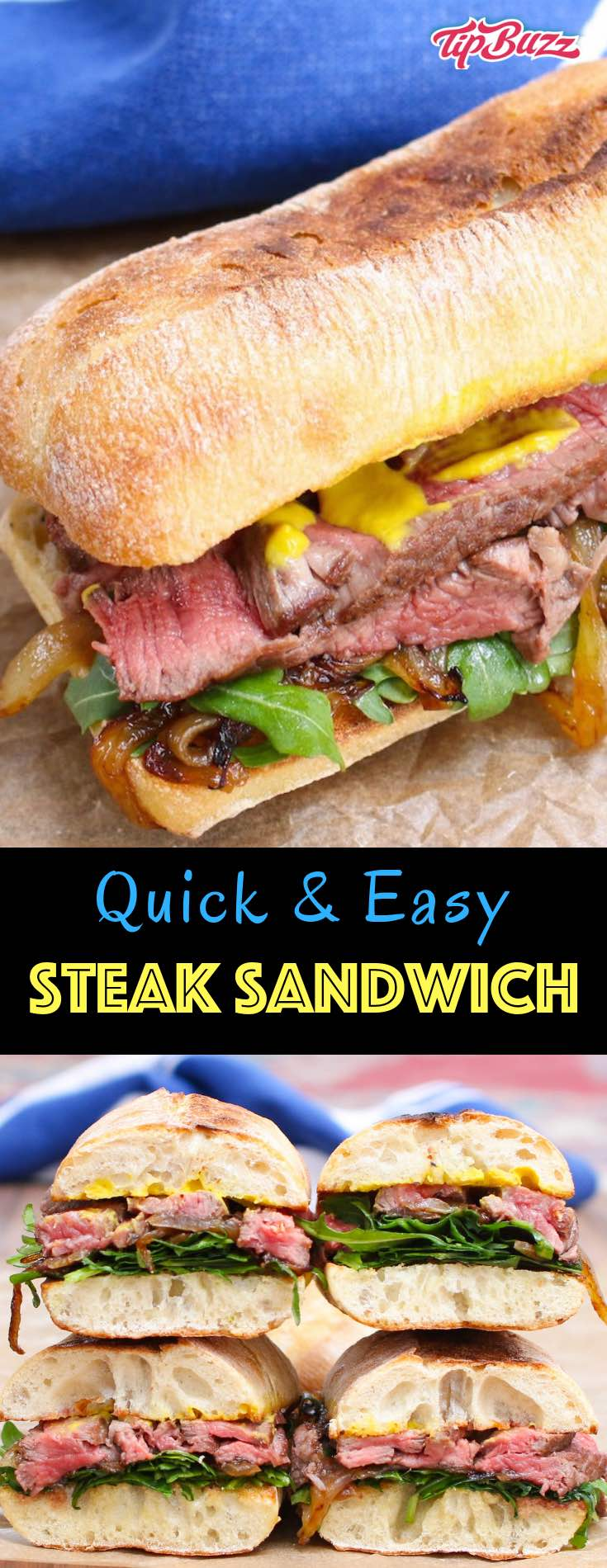 Steak Sandwich is a hearty and flavorful sandwich loaded with tender and thinly-sliced steak, green vegetables, caramelized onions and mustard, along with the nicely toasted bread. #SteakSandwich