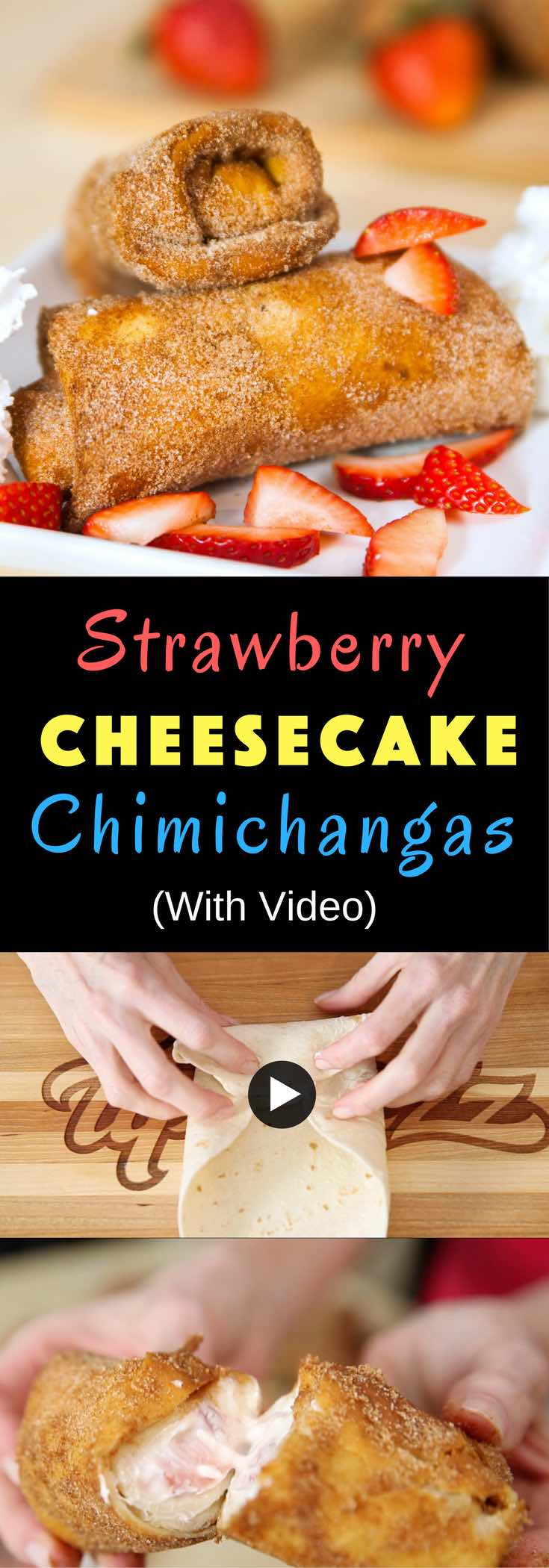 Strawberry Cheesecake Chimichangas are crispy on the outside and creamy inside. This Tex Mex dessert is perfect for any celebration, whether it's a party, birthday or Cinco de Mayo! #chimichangas #cheesecakechimichangas
