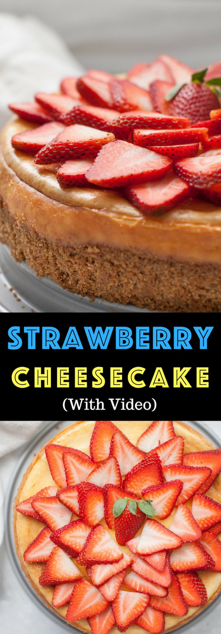 Strawberry White Chocolate Cheesecake is a fluffy baked cheesecake with a graham cracker crust and fresh strawberries on top. The perfect melt-in-your-mouth dessert for holidays including Easter, Mother's Day, Father's Day, Thanksgiving and Christmas as well as parties, potlucks and birthdays! Made with Happy Eggs from @happyeggcousa #healthyhappyeggs #organic #AD