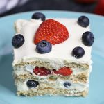 Strawberry Icebox Cake serving on a plate showing layers of pudding, graham crackers and fresh strawberries for a delicious no bake dessert