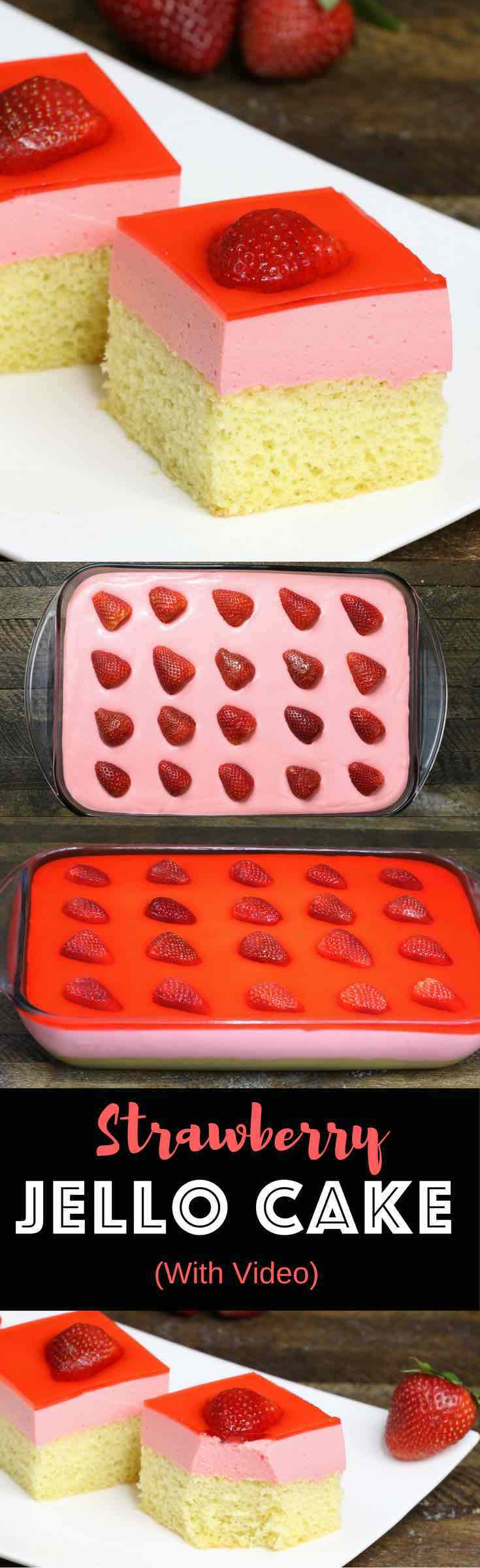 Strawberry jello cake is a delicious dessert. All you need is a few simple ingredients: yellow cake, strawberry jello, whipped topping and strawberries. An easy recipe that makes an incredible dessert for parties, birthday parties, Mother's Day and Easter. Video recipe. | Tipbuzz.com
