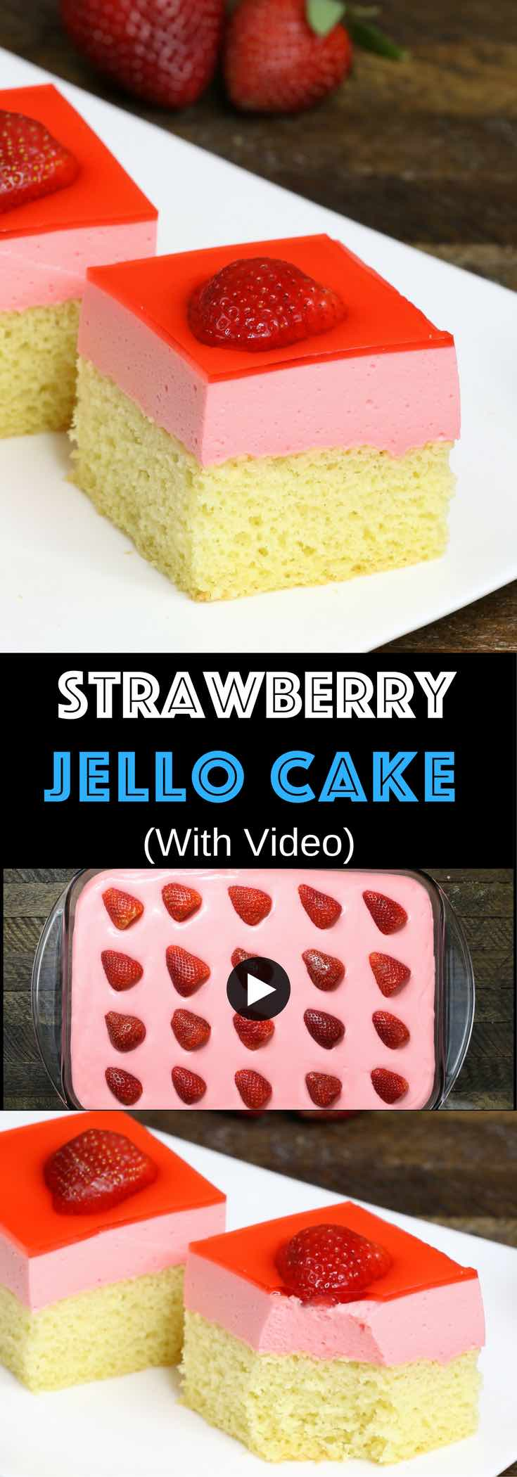 Easy Strawberry Jello Cake – A beautiful dessert with 3 layers for a special party! Smooth and creamy Jello fillings between yellow cake and bright red strawberry layers. So Good! Great for holiday and birthday parties. Easy recipe, party desserts. Vegetarian. Video recipe. | Tipbuzz.com