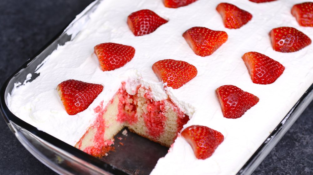 Strawberry Poke Cake in Pan