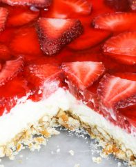 Strawberry Pretzel Salad closeup of the 3 layers in this delicious Southern dessert