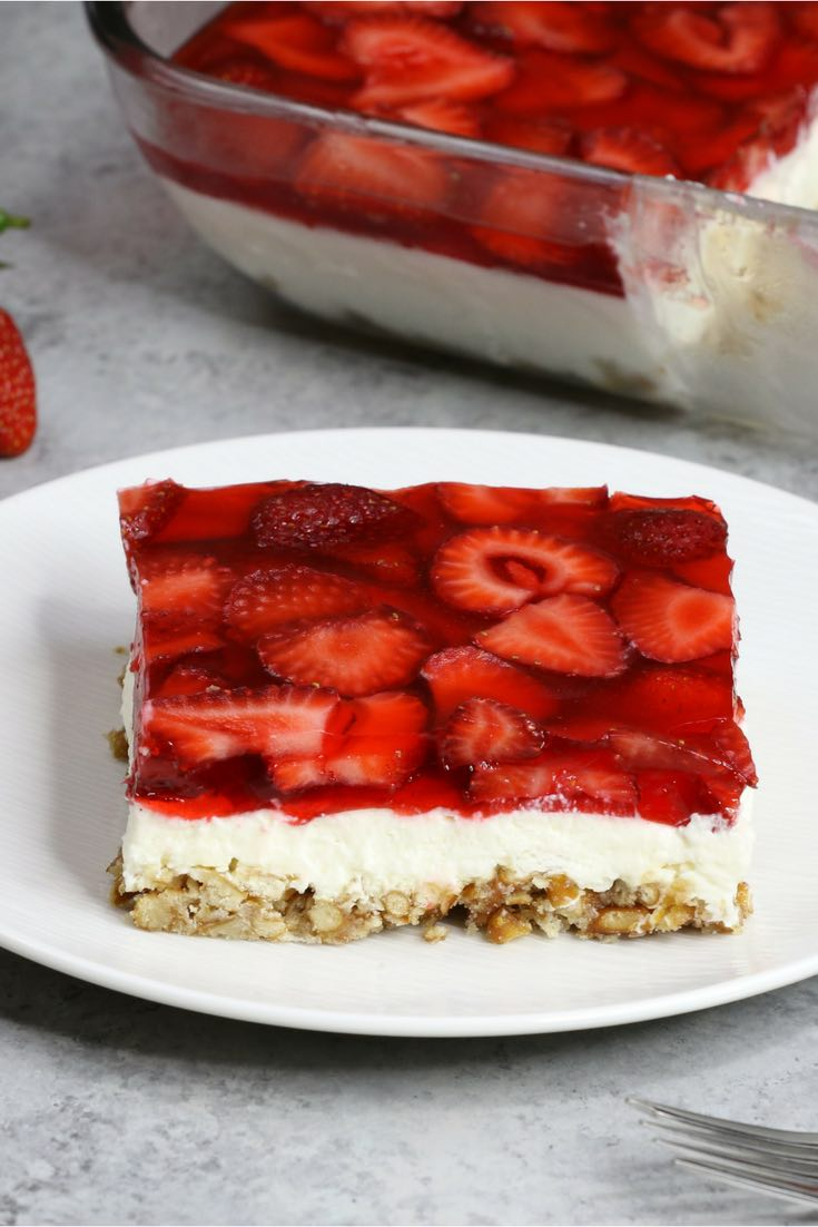 This is a photo of strawberry pretzel salad on a plate ready to be eaten